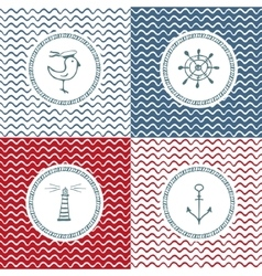 Sea hand drawn icons on wave background vector