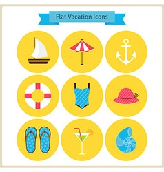 Flat summer holidays and resort icons set vector