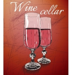 Two wineglasses on shabby background vector