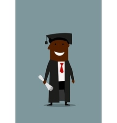 Happy man in graduation gown with diploma vector