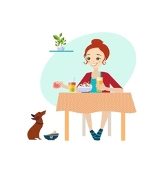 Eating at home daily routine activities of women vector