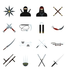 Ninja flat icons set vector