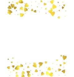 Gold glittering foil hearts on white background vector