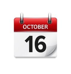 October 16 flat daily calendar icon date vector