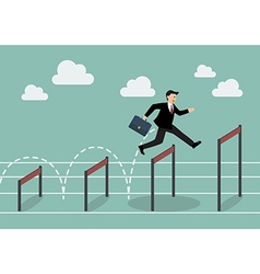 Businessman jumping over higher hurdle vector image