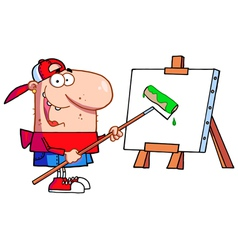 Man using a roller brush to paint a canvas vector