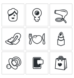 Set of woman and her habits icons female vector