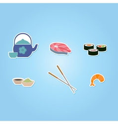 Color icon set with sushi and sake vector