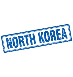 North korea blue square grunge stamp on white vector