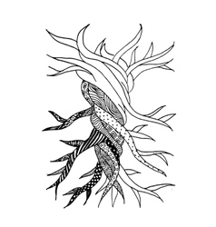Abstract old tree with roots zen doodle for your vector