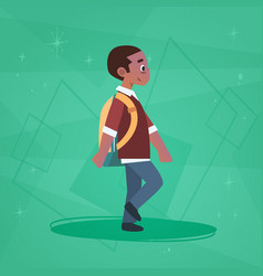 african american boy pupil walking school boy vector image vector image