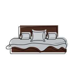 bed with pillows icon vector image