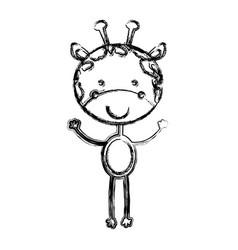 Blurred sketch silhouette cartoon cute giraffe vector