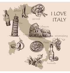 Creative map of Italy vector image vector image