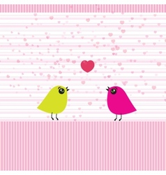 Cute birds on the love date vector image
