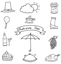 Doodle of thanksgiving food fruit set vector