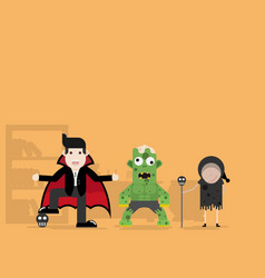 dracula monster and witch cartoon character vector image