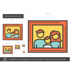 Family portrait line icon vector