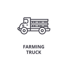 farming truck line icon outline sign linear vector image vector image