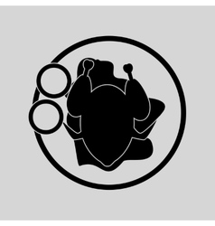 Flat in black and white fried chicken vector
