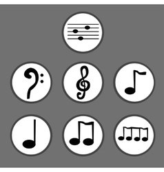 Hand drawn set of musical notes vector image vector image