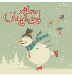 Ice skating cartoon snowman vector