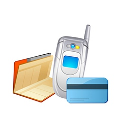 icon mobile phone and bankbook vector image vector image