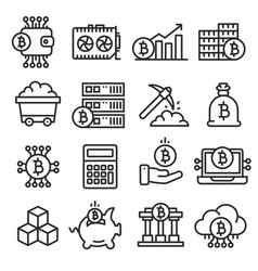 Lines icon set bitcoin crypto vector
