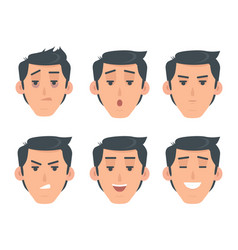 Man face emotive icon in flat style set vector