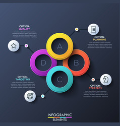 modern infographic design layout with 4 lettered vector image