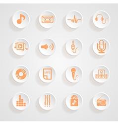 Music set Icons button shadows set vector image