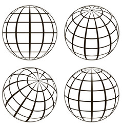 set globe the technical picture of the contours of vector image vector image