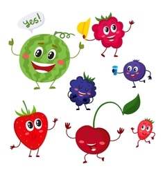Set of cute and funny comic berry characters vector image