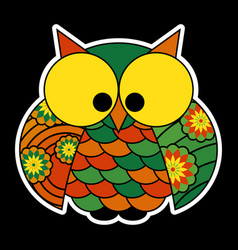 Sticker - cute colored owl with big yellow eyes vector