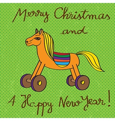 toy horse greetings card vector image vector image
