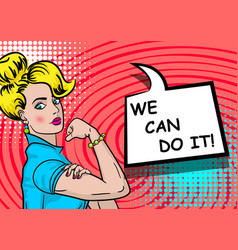 white blonde woman we can do it vector image