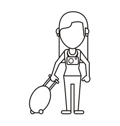 Woman tourist with camera and suitcase thin line vector