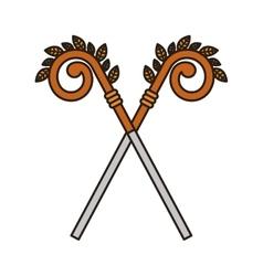 Wooden cane icon vector