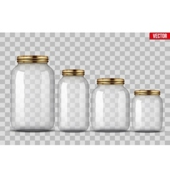 Set of glass jars for canning vector
