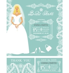 Bridal shower invitationsbridewinter wedding vector