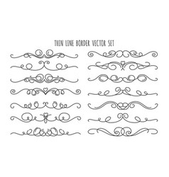 thin line decoration dividers set vector image