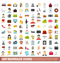 100 marriage icons set flat style vector