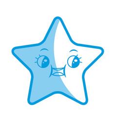 Kawaii cute star caricature facial expression vector