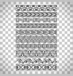 doodle floral borders on transparent background vector image