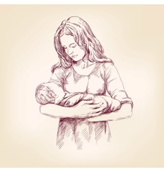 Madonna mary holding baby jesus llustration vector