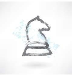 chess knight grunge icon vector image