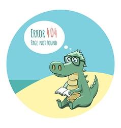 Crocodile With a Book - Error 404 vector image