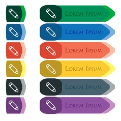 Pen icon sign set of colorful bright long buttons vector
