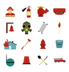 Firefighter flat icons set vector