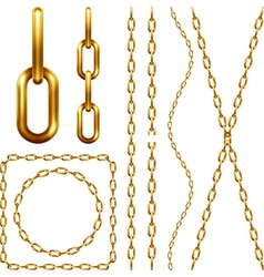Set of golden chain vector image